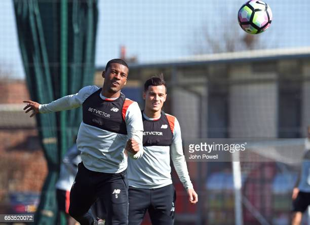 Philippe Coutinho and Georginio Wijnaldum of Liverpool during a training session at Melwood Training Ground on March 15 2017 in Liverpool England
