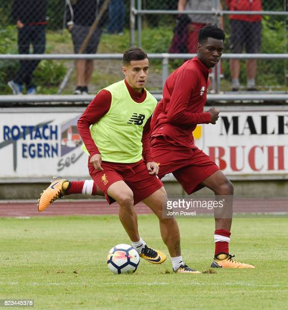 Philippe Coutinho and Ovie Ejaria of Liverpool during a training session at RottachEgern on July 27 2017 in Munich Germany