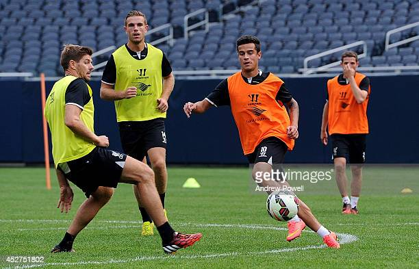 Philippe Coutinho and Steven Gerrard of Liverpool during a training session before the first game in the Guinness International Champions Cup between...