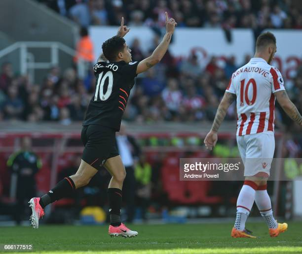 Philippe Coutinho Celebrates after putting liverpool level at 11 during the Premier League match between Stoke City and Liverpool at Bet365 Stadium...