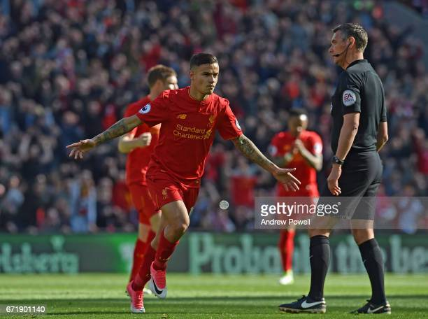Philippe Coutinho Celebrates the opener for Liverpool during the Premier League match between Liverpool and Crystal Palace at Anfield on April 23...
