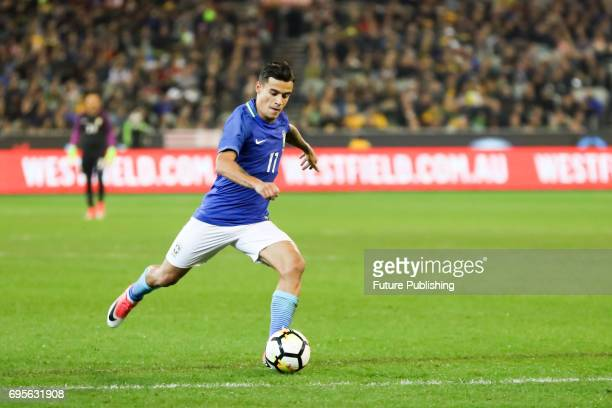 Philippe Coutinho Correia plays the ball during play as Brazil beat Australia in the Chevrolet Brasil Global Tour 2017 on June 13 2017 in Melbourne...