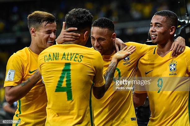 Philippe Coutinho Dani Alves Neymar and Gabriel Jesus of Brazil celebrates a scored goal against Argentina during a match between Brazil and...