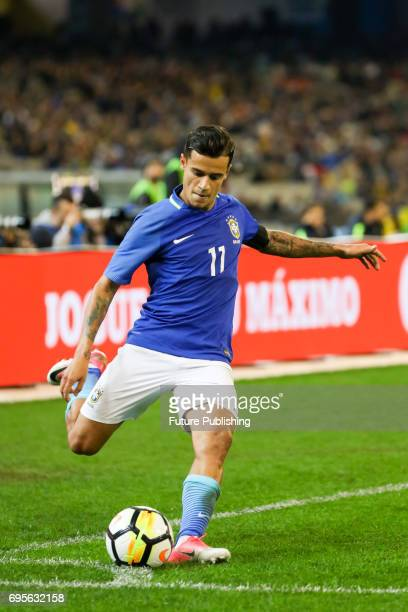 Philippe Coutinho of Brazil during play as Brazil plays Australia in the Chevrolet Brasil Global Tour 2017 on June 13 2017 in Melbourne Australia...