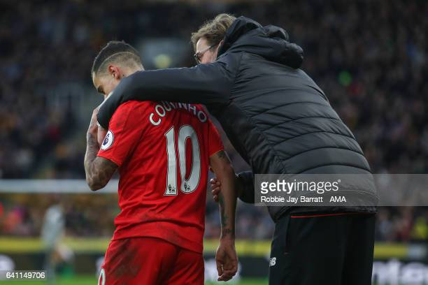 Philippe Coutinho of Liverpool and Jurgen Klopp manager / head coach of Liverpool during the Premier League match between Hull City and Liverpool at...