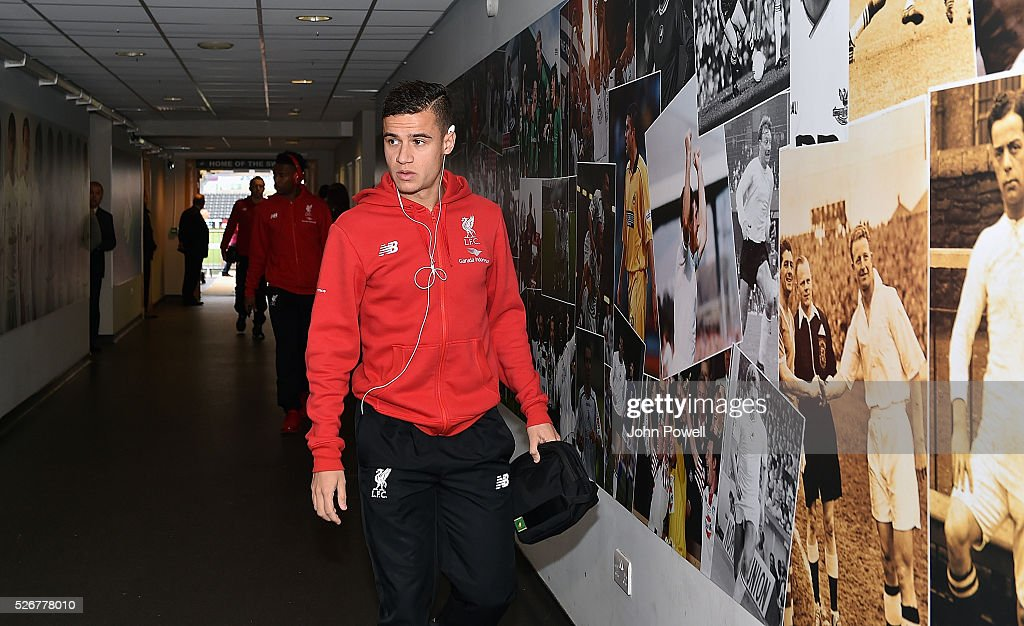 Philippe Coutinho of Liverpool arrives before a Premier League match between Swansea City and Liverpool at the Liberty Stadium on May 01, 2016 in Swansea, Wales.