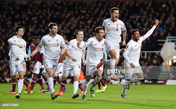 Philippe Coutinho of Liverpool celebrates after scoring a freekick during the The Emirates FA Cup Fourth Round Replay match between West Ham United...