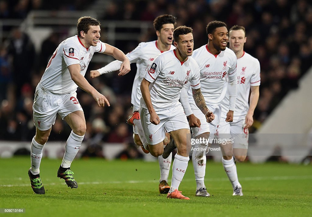 <a gi-track='captionPersonalityLinkClicked' href=/galleries/search?phrase=Philippe+Coutinho&family=editorial&specificpeople=6735575 ng-click='$event.stopPropagation()'>Philippe Coutinho</a> of Liverpool celebrates after scoring a free-kick during the The Emirates FA Cup Fourth Round Replay match between West Ham United and Liverpool at Boleyn Ground on February 9, 2016 in London, England.