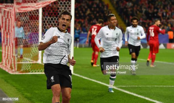 Philippe Coutinho of Liverpool celebrates after scoring a goal during the UEFA Champions League group E match between Spartak Moskva and Liverpool FC...