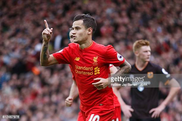 Philippe Coutinho of Liverpool celebrates after scoring a goal to make it 41 during the Premier League match between Liverpool and Hull City at...