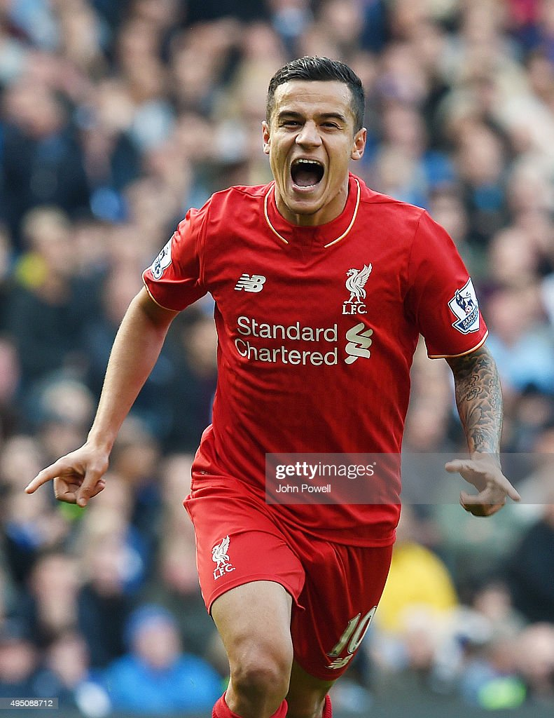 <a gi-track='captionPersonalityLinkClicked' href=/galleries/search?phrase=Philippe+Coutinho&family=editorial&specificpeople=6735575 ng-click='$event.stopPropagation()'>Philippe Coutinho</a> of Liverpool celebrates after scoring during the Barclays Premier League match between Chelsea and Liverpool at Stamford Bridge on October 31, 2015 in London, England.