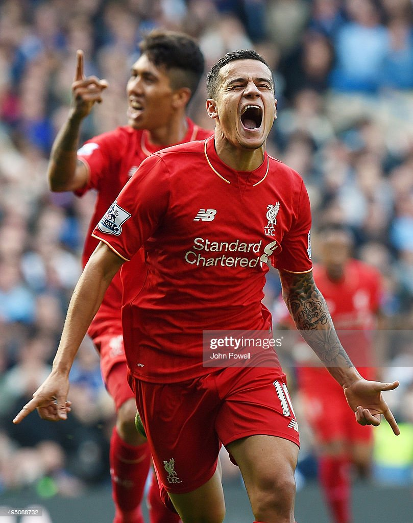 Philippe Coutinho of Liverpool celebrates after scoring during the Barclays Premier League match between Chelsea and Liverpool at Stamford Bridge on October 31, 2015 in London, England.