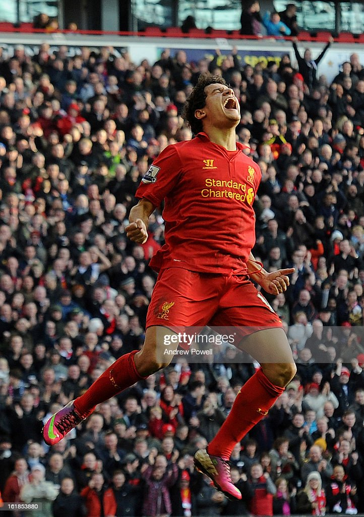 Philippe Coutinho of Liverpool celebrates after scoring his first goal for the club during the Barclays Premier League match between Liverpool and Swansea City at Anfield on February 17, 2013 in Liverpool, England.