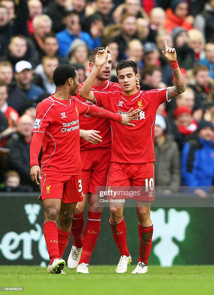 <a gi-track='captionPersonalityLinkClicked' href=/galleries/search?phrase=Philippe+Coutinho&family=editorial&specificpeople=6735575 ng-click='$event.stopPropagation()'>Philippe Coutinho</a> #10 of Liverpool celebrates after scoring is team's second goal during the Barclays Premier League match between Liverpool and Manchester City at Anfield on March 1, 2015 in Liverpool, England.