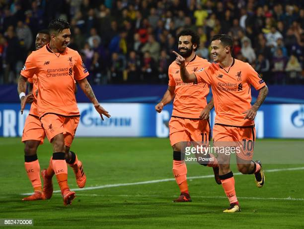Philippe Coutinho of Liverpool celebrates after scoring the second goal during the UEFA Champions League group E match between NK Maribor and...