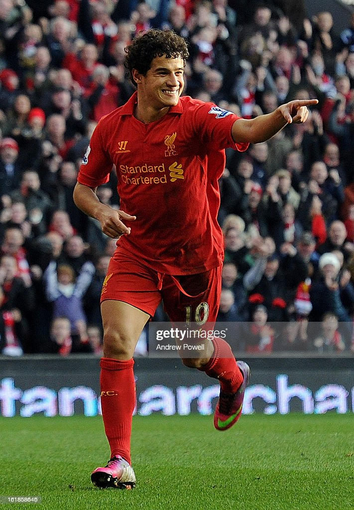 Philippe Coutinho of Liverpool celebrates his goal during the Barclays Premier League match between Liverpool and Swansea City at Anfield on February 17, 2013 in Liverpool, England.