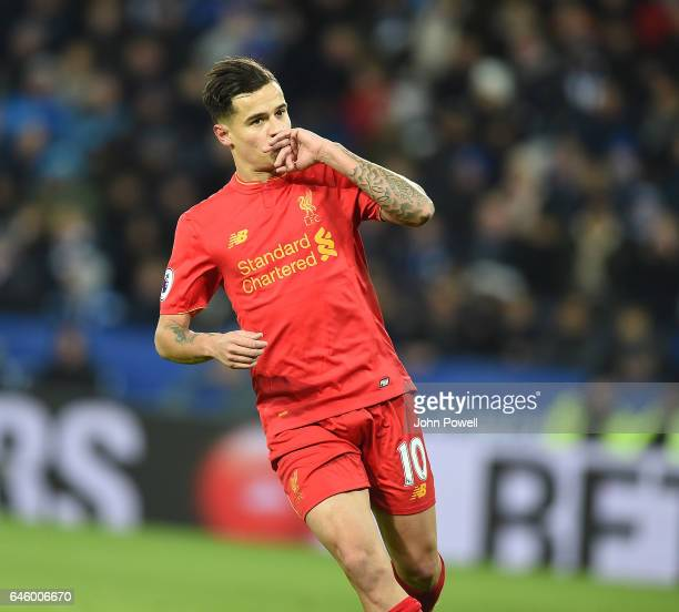 Philippe Coutinho of Liverpool Celebrates his goal during the Premier League match between Leicester City and Liverpool at The King Power Stadium on...