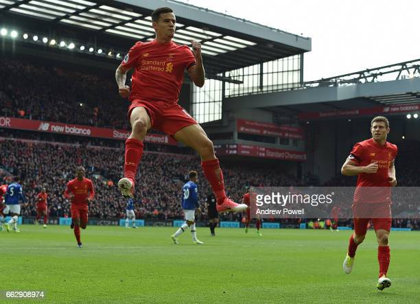 Philippe Coutinho of Liverpool Celebrates the second during the Premier League match between Liverpool and Everton at Anfield on April 1 2017 in...