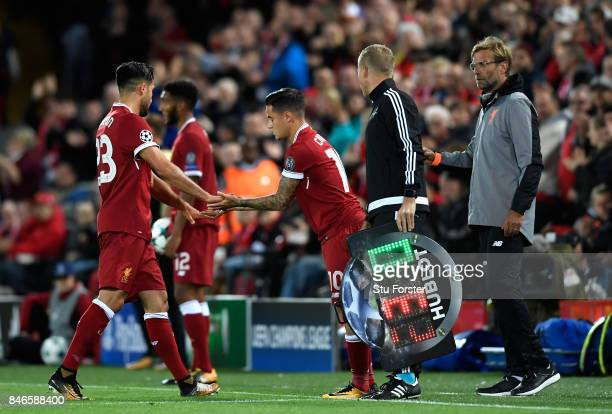 Philippe Coutinho of Liverpool comes on for Emre Can of Liverpool during the UEFA Champions League group E match between Liverpool FC and Sevilla FC...