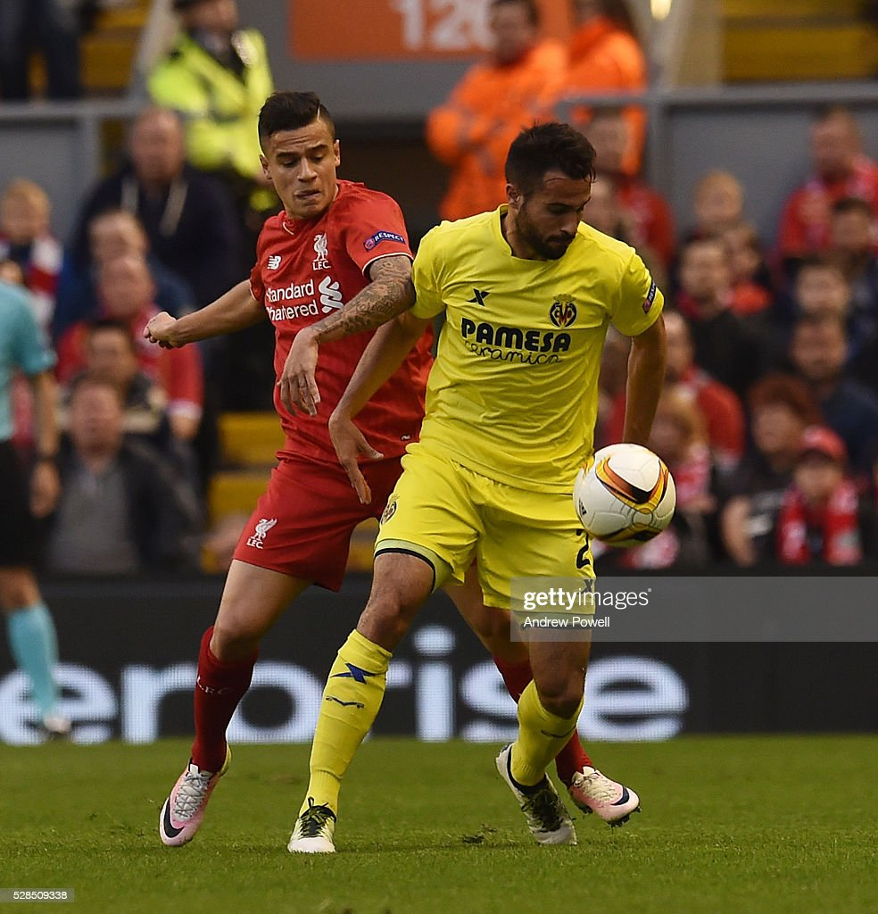 Philippe Coutinho of Liverpool competes with Mario Gaspar of Villarreal during the UEFA Europa League Semi Final: Second Leg match between Liverpool and Villarreal CF at Anfield on May 05, 2016 in Liverpool, England.