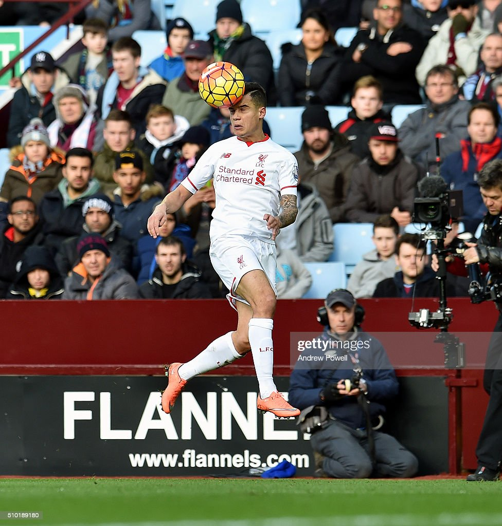 <a gi-track='captionPersonalityLinkClicked' href=/galleries/search?phrase=Philippe+Coutinho&family=editorial&specificpeople=6735575 ng-click='$event.stopPropagation()'>Philippe Coutinho</a> of Liverpool during the Barclays Premier League match between Aston Villa and Liverpool at Villa Park on February 14, 2016 in Birmingham, England.