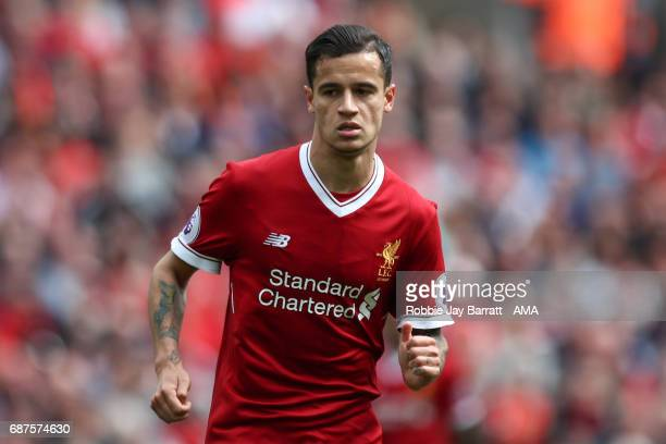 Philippe Coutinho of Liverpool during the Premier League match between Liverpool and Middlesbrough at Anfield on May 21 2017 in Liverpool England