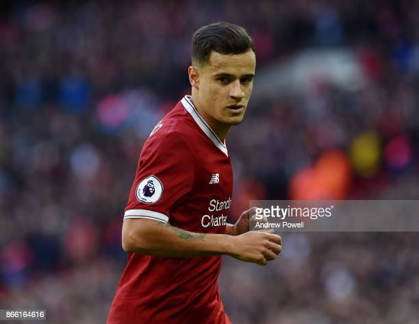 Philippe Coutinho of Liverpool during the Premier League match between Tottenham Hotspur and Liverpool at Wembley Stadium on October 22 2017 in...