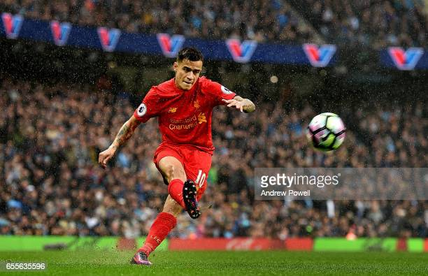 Philippe Coutinho of Liverpool during the Premier League match between Manchester City and Liverpool at Etihad Stadium on March 19 2017 in Manchester...