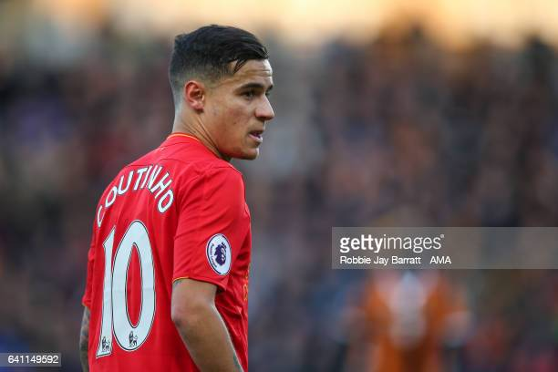 Philippe Coutinho of Liverpool during the Premier League match between Hull City and Liverpool at KCOM Stadium on February 4 2017 in Hull England