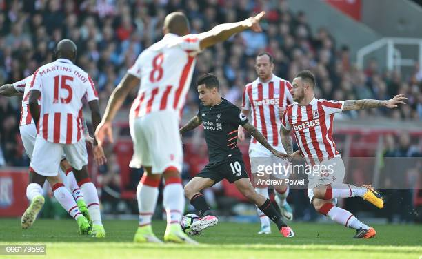 Philippe Coutinho of Liverpool during the Premier League match between Stoke City and Liverpool at Bet365 Stadium on April 8 2017 in Stoke on Trent...