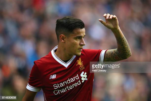 Philippe Coutinho of Liverpool during the preseason friendly match between Wigan Athletic and Liverpool at DW Stadium on July 14 2017 in Wigan England