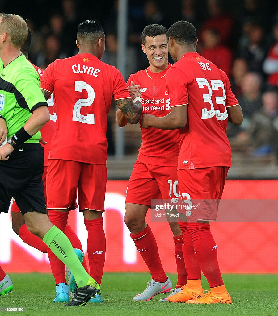 Philippe Coutinho of Liverpool FC celebrates scoring the second goal during the pre season friendly match at Olympic Stadium on August 1 2015 in...