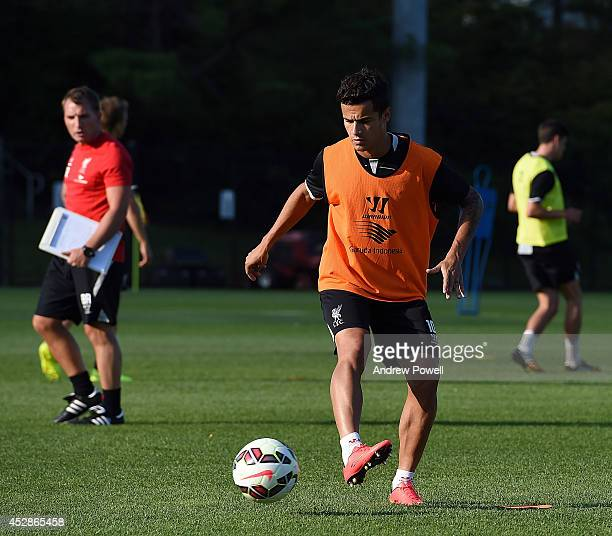Philippe Coutinho of Liverpool in action during a training session at Princeton University on July 28 2014 in Princeton New Jersey