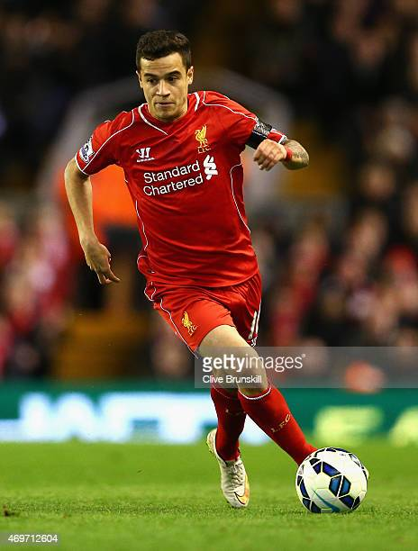 Philippe Coutinho of Liverpool in action during the Barclays Premier League match between Liverpool and Newcastle United at Anfield on April 13 2015...