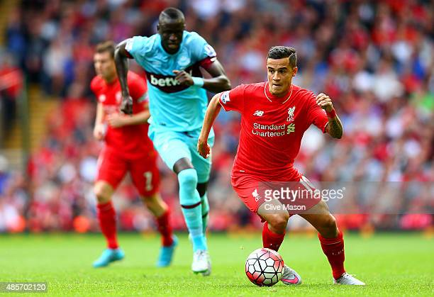 Philippe Coutinho of Liverpool in action during the Barclays Premier League match between Liverpool and West Ham United at Anfield on August 29 2015...