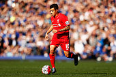 Philippe Coutinho of Liverpool in action during the Barclays Premier League match between Everton and Liverpool at Goodison Park on October 4 2015 in...