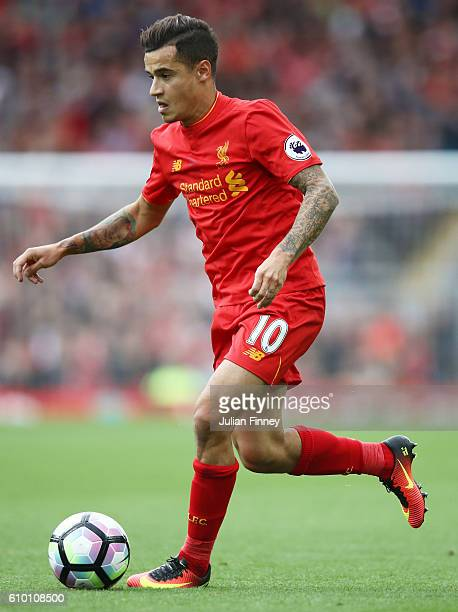 Philippe Coutinho of Liverpool in action during the Premier League match between Liverpool and Hull City at Anfield on September 24 2016 in Liverpool...