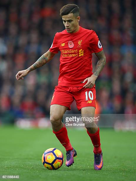 Philippe Coutinho of Liverpool in action during the Premier League match between Liverpool and Watford at Anfield on November 6 2016 in Liverpool...