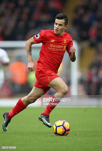 Philippe Coutinho of Liverpool in action during the Premier League match between Liverpool and Swansea City at Anfield on January 21 2017 in...