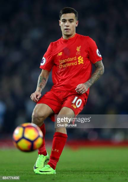 Philippe Coutinho of Liverpool in action during the Premier League match between Liverpool and Tottenham Hotspur at Anfield on February 11 2017 in...