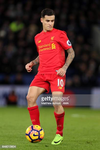 Philippe Coutinho of Liverpool in action during the Premier League match between Leicester City and Liverpool at The King Power Stadium on February...