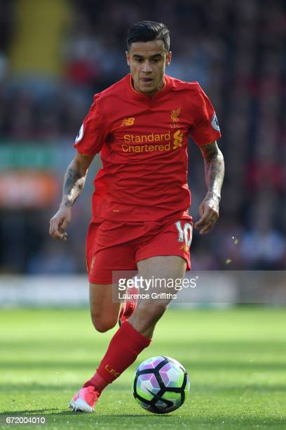 Philippe Coutinho of Liverpool in action during the Premier League match between Liverpool and Crystal Palace at Anfield on April 23 2017 in...