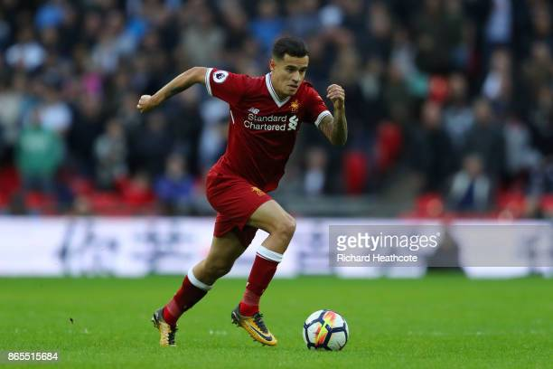 Philippe Coutinho of Liverpool in action during the Premier League match between Tottenham Hotspur and Liverpool at Wembley Stadium on October 22...