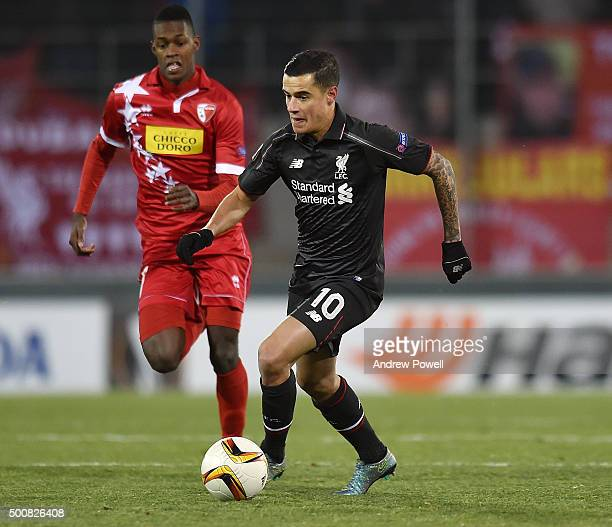 Philippe Coutinho of Liverpool in action during the UEFA Europa League match between FC Sion and Liverpool FC at Estadio Tourbillon on December 10...
