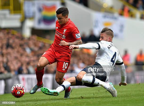 Philippe Coutinho of Liverpool is tackled by Toby Alderweireld of Tottenham Hotspur during the Barclays Premier League match between Tottenham...