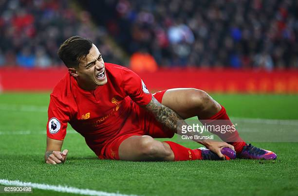 Philippe Coutinho of Liverpool reacts during the Premier League match between Liverpool and Sunderland at Anfield on November 26 2016 in Liverpool...