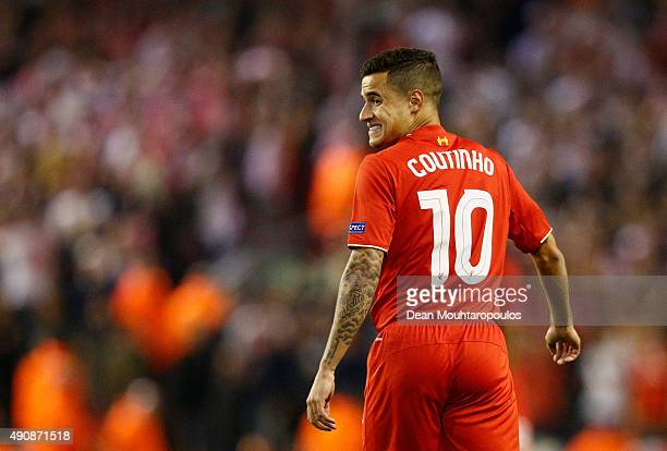 Philippe Coutinho of Liverpool reacts during the UEFA Europa League group B match between Liverpool FC and FC Sion at Anfield on October 1 2015 in...