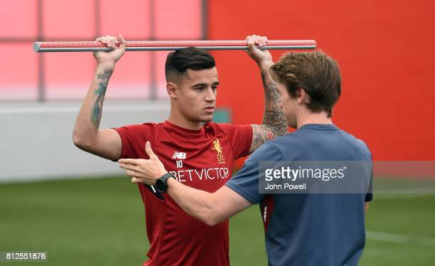 Philippe Coutinho of Liverpool returns for his first day back at Melwood Training Ground on July 11 2017 in Liverpool England