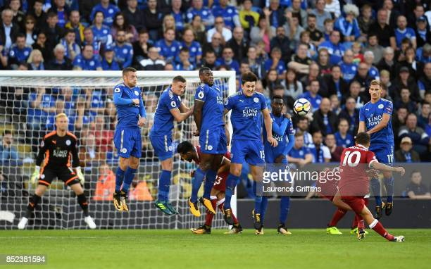 Philippe Coutinho of Liverpool scores his sides second goal during the Premier League match between Leicester City and Liverpool at The King Power...