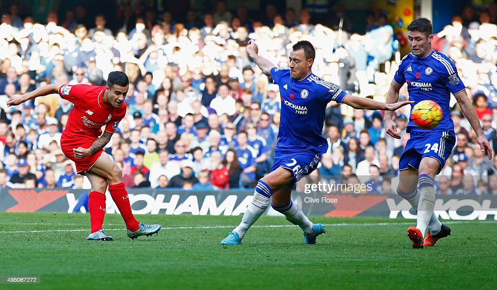 <a gi-track='captionPersonalityLinkClicked' href=/galleries/search?phrase=Philippe+Coutinho&family=editorial&specificpeople=6735575 ng-click='$event.stopPropagation()'>Philippe Coutinho</a> of Liverpool scores his team's second goal during the Barclays Premier League match between Chelsea and Liverpool at Stamford Bridge on October 31, 2015 in London, England.